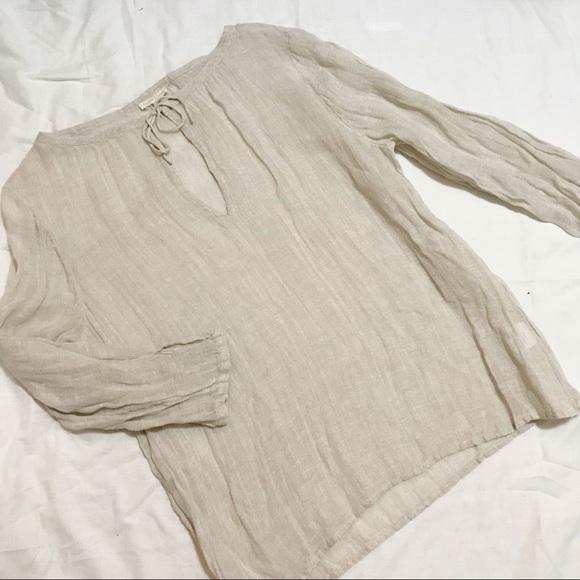 ebde91c7b253e Eileen Fisher Cream Linen Shirt w/keyhole tie neck